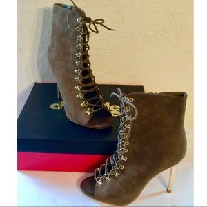 Olive Lacey Lace-Up Peep Toe Suede Ankle Booties